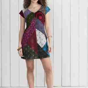 Patchwork dress, cap sleeves, cottonjersey
