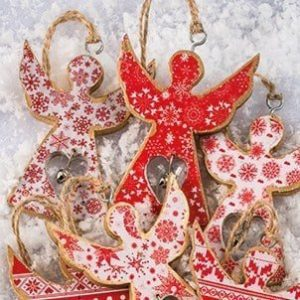 Christmas tree decoration: Hanging printed wooden Angel with bell