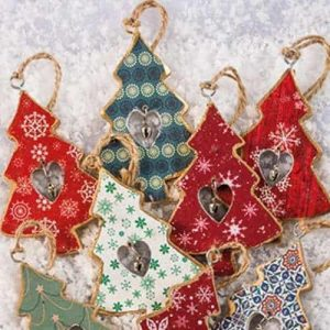 Christmas tree decoration: Hanging printed wooden tree with bell