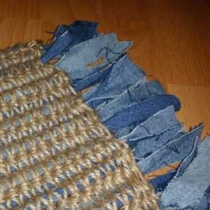 Rag Rug Mat: Small crocheted jute rag mat