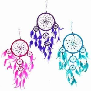 Bali Dream catcher - Large Round - Turq/Pink/Purp