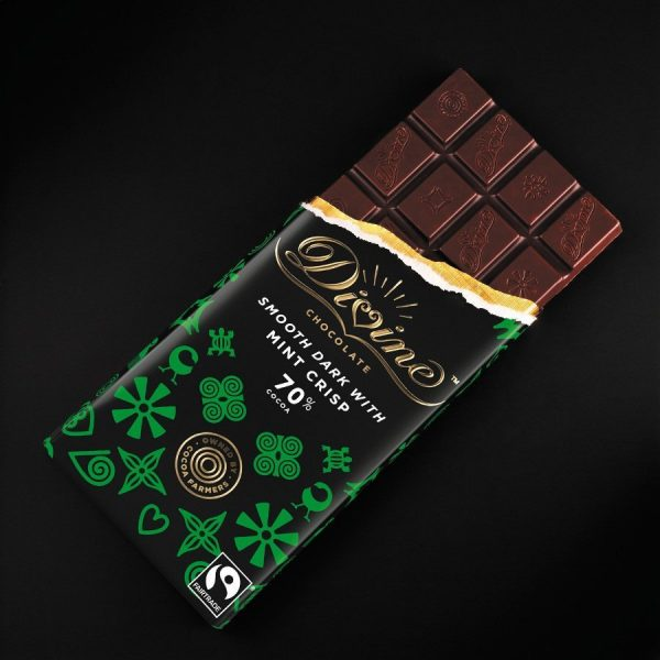 Large chocolate mint crisp bar open Divine