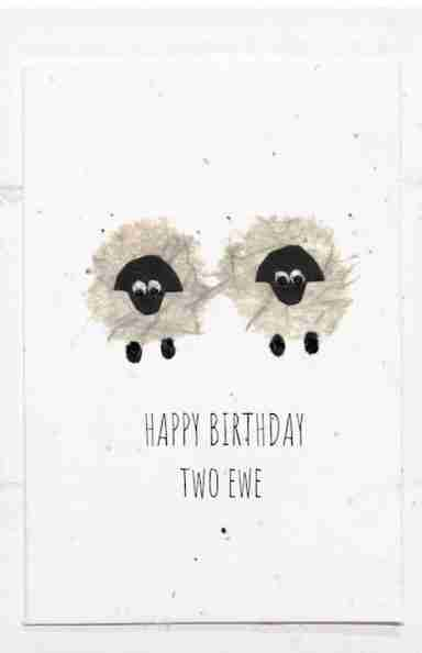 happy birthday two ewe seed card