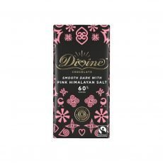 Divine dark chocolate with pink himalayan salt 90g bar