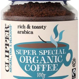 Clipper super special organic coffee. Blue lid