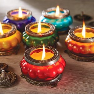 Scented candle in decorative glass jar by The Great Indian Caravan,