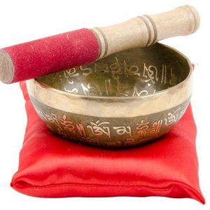 Singing bowl set; etched brass singing bowl with chino and wooden stick in a presentation box
