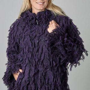Fleece lined - shaggy jacket - Purple/Black by Blackyak