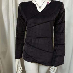 "Black Velvet Top: Long Sleeve, Asymmetrical ""Sunray"" Overlocked Top by Black Yak, 100% Cotton front"