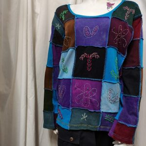 Long Sleeve Patchwork Top: Hand Embroidered, Blues