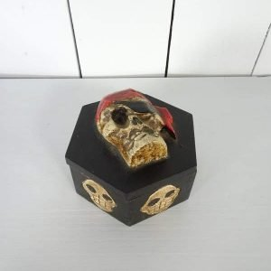 Skull and crossbones hexagonal box