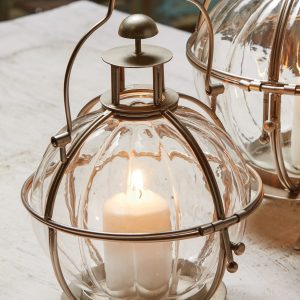 Glass Ball Lantern in Silver Finish Holder