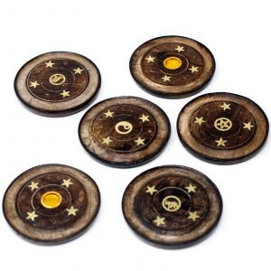 Incense holder Mango Wood Disc 10cm (Cone & Sticks)