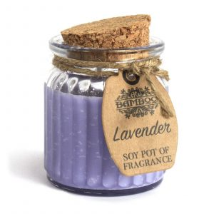 lavender soy candles in reusable jar