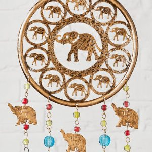 metal windchime with elephants