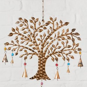 Metal windchime: tree of life with beads and bells