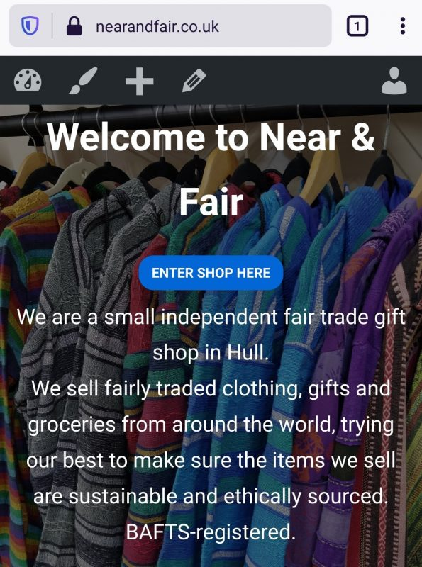 Near & Fair Gift Shop website home page