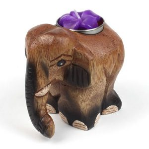 Wooden Elephant tealight holder