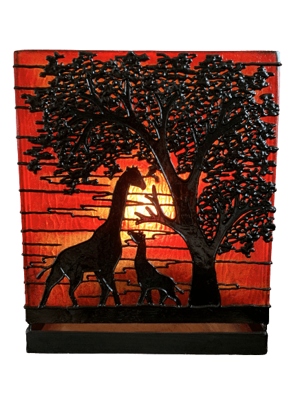 Atmospheric table lamps with tree and giraffes